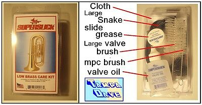 Tuba  Sousaphone Low Brass Care / Maint Kit: snake oil brushes cloth, etc.