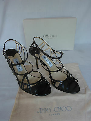 b5bf2b704973 NEW JIMMY CHOO Ladies COLE Black Leather Strappy Heels Shoes UK 7.5 EU 40.5  .