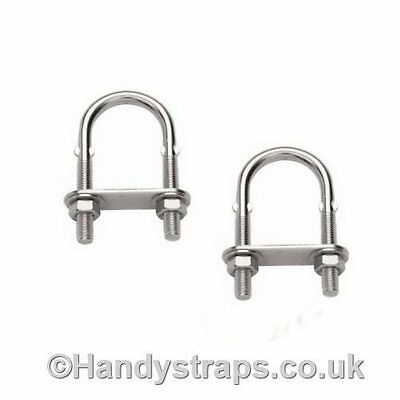 2 x 10mm x 130mm U BOLT & PLATE   Marine Stainless Steel for 40mm pipe