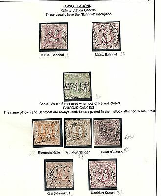 Thurn&Taxis collection of 8 stamps RAILWAY CANCELS