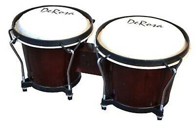 Dark Wood PRO BONGOS Mini Conga Drum Set Studio Band Musical Instruments Bongo