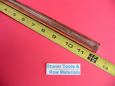 """3/4"""" C110 COPPER ROUND ROD 12"""" long H04 Solid CU New Lathe Bar Stock .750"""" OD"""