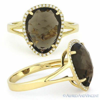 3.94 ct Checkerboard Smoky Topaz & Diamond Halo 14k Yellow Gold Right-Hand Ring