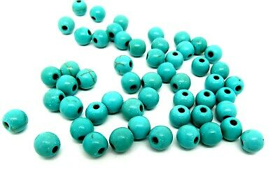 60 Turquoise Beads 6mm  Reconstituted Dyed and Stabilised Turquoise J00702
