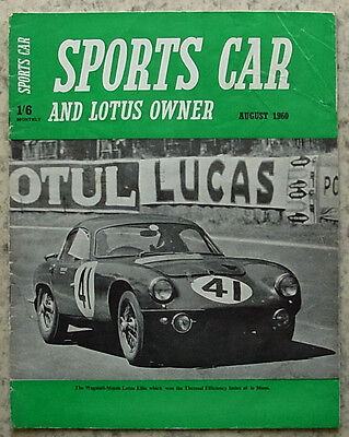 SPORTS CAR & LOTUS OWNER Magazine Aug 1960 ABARTH FIAT 850 GT Hillman CVT