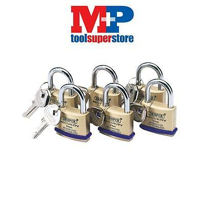 Draper 67659 Pack of 6 x 40mm Solid Brass Padlocks with Hardened Steel Shackle
