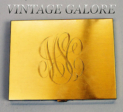 Vtg gold tone Large lipstick compact case Art Deco w MONOGRAM 20s 30s Volupte