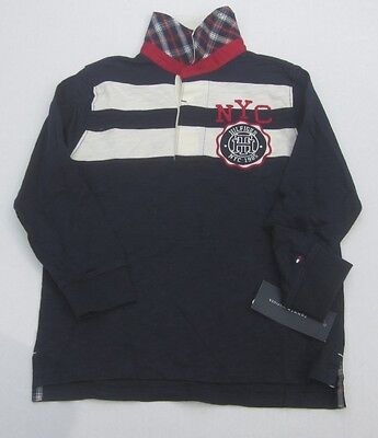 Tommy Hilfiger Boys L/S Navy Blue Striped Rugby Polo Shirt