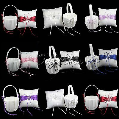 Wedding Ring Pillow And Girl Flower Baskets Double Heart Diamond Page Boy Colors