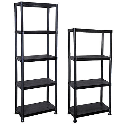 4/5 Tier Plastic Shelving Unit Storage Racking Shelves Garage Warehouse Shed