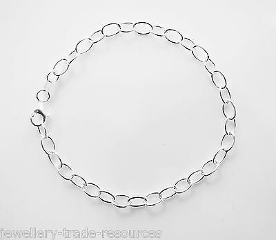 "New 7"" 925 Sterling Silver Cable Chain Bracelet 4.3mm Wide"