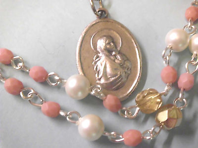 Pink & Pearl Glass Rosary Style Necklace w Madonna of the Streets Medal Pendant