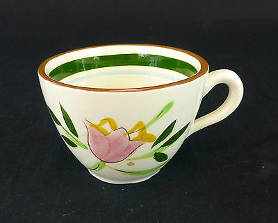 Country Garden Stangl China Flat Cup Only Floral Carved Brown Green Blue