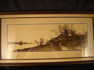 framed print matted farm house water front lithograph art primitive monochrome