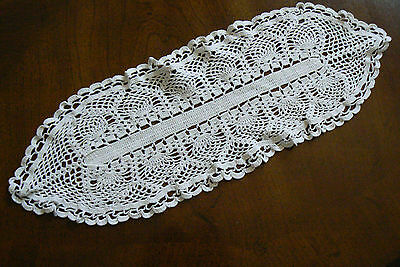 Antique VTG Crochet Lace Table runner  Doily Lace Center Mat Dresser  Decor