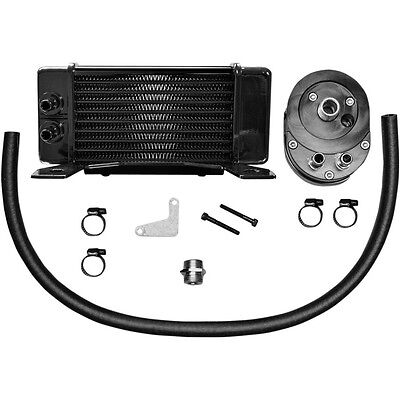 Jagg Black 10-Row Horizontal Low-Mount Oil Cooler for 1984-2008 Harley Touring