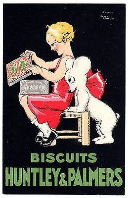Postcard French Huntley & Palmers Biscuits Signed Rene Vincent