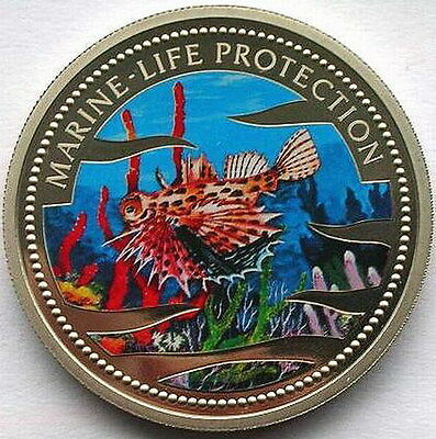 Palau 2002 Red Lionfish Dollar Colour Coin.Prooflike