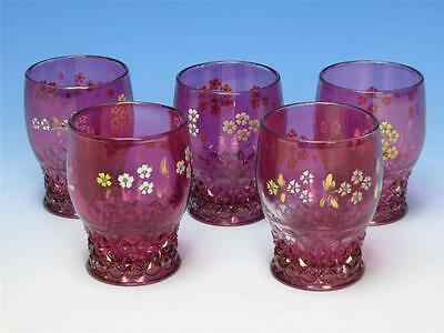Early American Pattern Glass - EAPG - Cranberry Flash - 5 Tumblers