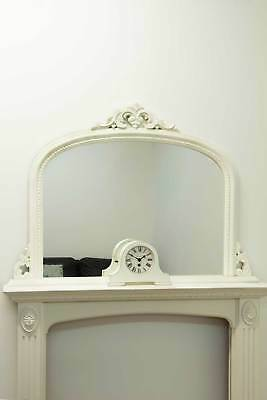 Large White Arched Wood Antique Style Overmantle Mirror 4Ft2 X 3Ft 127 X 91cm