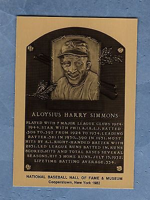 HOF Metal Plaque-card AL SIMMONS A's/Athletics-White Sox-Red Sox-Senators-Braves