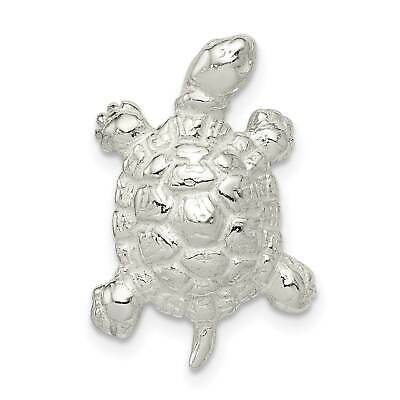 925 Sterling Silver Polished Turtle Solid Charm Pendant 17mmx10mm