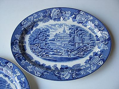 """1x Woods & Sons Woods Ware English Scenery Blue White 10""""in Oval Serving Platter"""