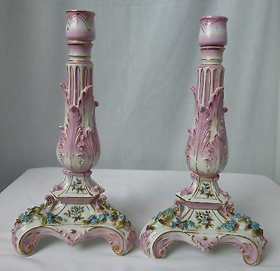 Antique, Porcelain,Dresden-style Pink Candlesticks,Forget-Me-Nots