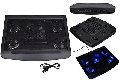 "5 Fan Blue LED 10-17"" Laptop Notebook Cooling Cooler Stand Pad W/ Extra USB Port"