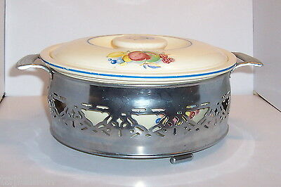 HOMER LAUGHLIN Kitchen Kraft FRUITS Oven Serve MEDIUM CASSEROLE, Metal CARRIER,