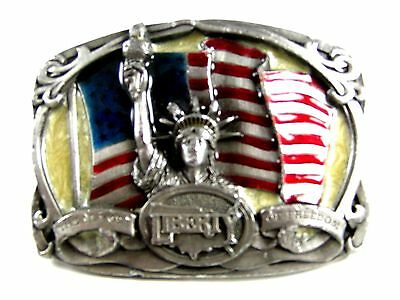 1985 The Flame of Freedom Statue of Liberty Brass Belt Buckle by Bergamont 62514