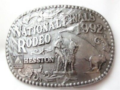 1992 National Finals Rodeo Cowboy Western Belt Buckle By HESSTON MIP