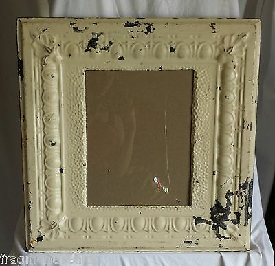"ANTIQUE Ceiling Tin Picture Frame 11""x 14"" Original Cream A3"