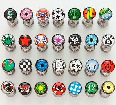 "5 Logo Steel Ball Tongue Rings WHOLESALE Body Jewelry Barbells 14g 5/8"" Bars"