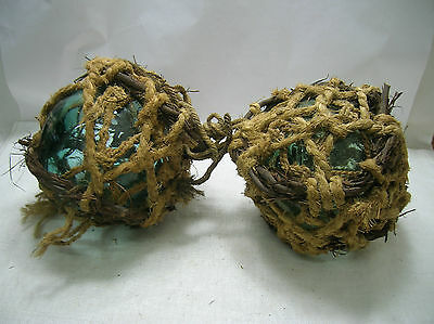 "Vintage Glass Fishing Floats 9"" x 2 Natural Fibre Net with branch Japanese #116"