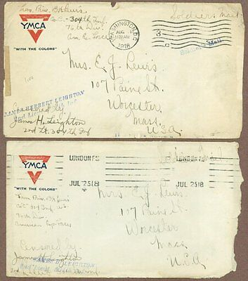 Two Postal Covers From WWI Soldier, 1918, Censored Stamps