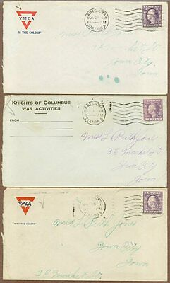 Three World War I Soldier's Postal Covers, All 1918, All Mailed In US