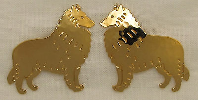 Belgian Tervuren Sheepdog Jewelry Gold Post Earrings