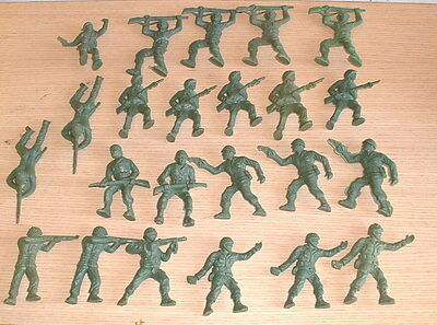 Vintage 1960s Lido Plastic Toy Soldiers Army Lot 23 Assorted Figures