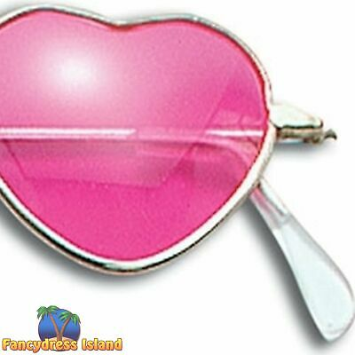1970's DISCO HIPPY PINK HEART SHAPED GLASSES Ladies Womens Fancy Dress Accessory