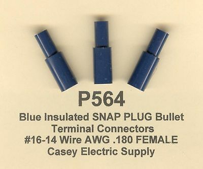 25 blue nylon insulated snap plug bullet terminal 16 14 wire awg 50 blue insulated snap plug terminal connector 16 14 wire gauge awg 180 greentooth Gallery