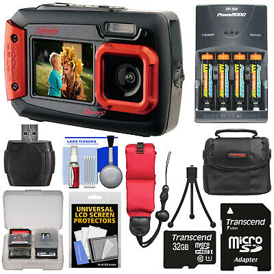 Coleman Duo 2V9WP Dual Screen Shock & Waterproof 20MP Digital Camera Kit Red
