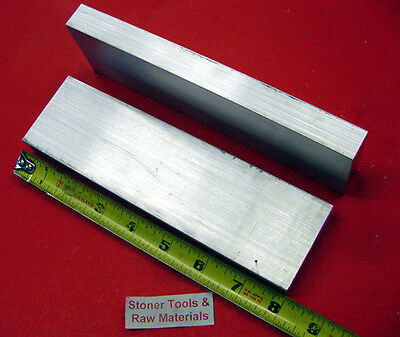 """2 Pieces 1"""" X 2-1/2"""" ALUMINUM 6061 FLAT BAR 8"""" long T6511 Solid Plate Mill Stock"""