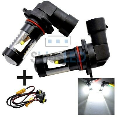 Two 9006 HB4 Projection 30W DRL Fog Light LED with Load Resistor Canbus White