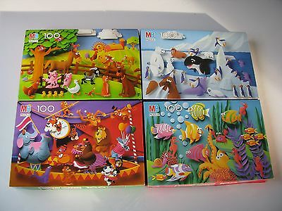 Lot Set (4x) Vtg Old Paper Capers The Puzzle w/ The 3D Look Milton Bradly 100 pc