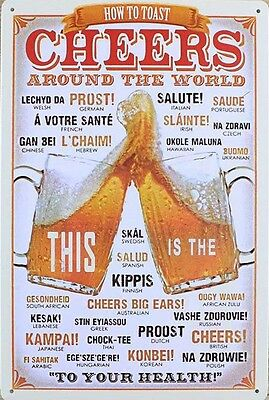 Retro Metal Wall Sign Tin Cheers Vintage Funny Kitchen Beer Gift Bar Pub Lounge
