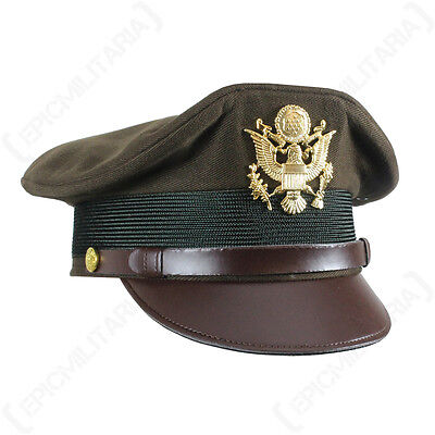 US Army Officers PEAKED OLIVE VISOR CAP - All Sizes - WW2 Crusher Service Hat