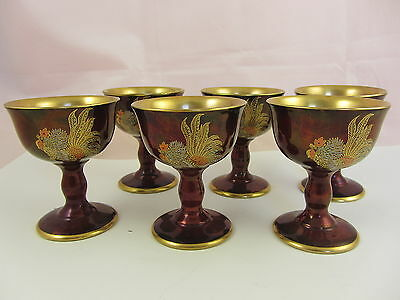 CARLTON WARE FIGHTING COCK ART DECO ROUGE ROYALE GOBLETS x 6