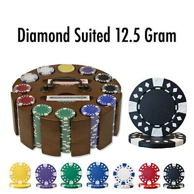 Diamond Suited 300pc 12.5G Clay Poker Chip Set w/Wooden Carousel