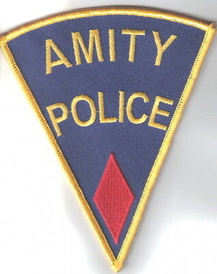 Jaws Movie Amity Police Logo Shoulder Patch, Red Diamond Embroidered Patch, NEW